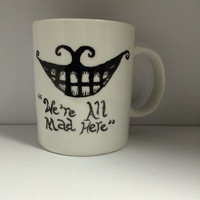 Alice in Wonderland Cheshire Cat inspired hand painted mug