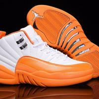 Air Jordan 12 GS Orange White AJ 12 Women Basketball Shoes