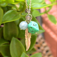 Gypsy Queen - Feather Necklace, Imitation Turquoise & Gemstone Jewelry made in Hawaii, Bohemian Necklace, Hippie Boho Jewelry,