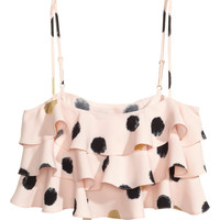 H&M - Short Tiered Top - Patterned - Ladies