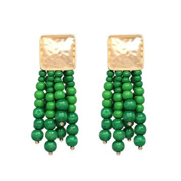Green Gold Beads Statement Earrings