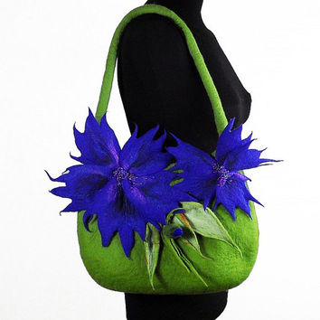 Felted Bag CORNFLOWER Handbag Art Purse Blue Olive wild Felt Nunofelt wearable art Nuno felt shoulder bag fairy floral fantasy
