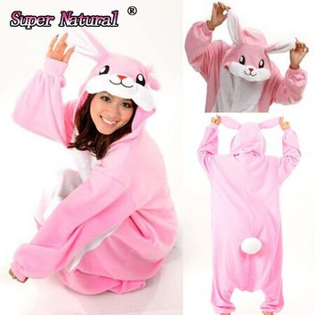 HKSNG Pink Blue Yellow Bunny Rabbit Winter Adults Animal Lovely Christmas Footed Pajamas Onesuit Cosplay Homewear Pyjamas