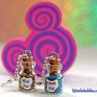 Eat Me and Drink Me Alice in Wonderland Magical Bottle Earrings by Life is the Bubbles