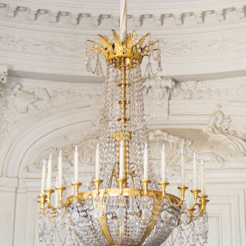 Paris Photography - Versailles Chandelier, Gold and White Home Decor, French Travel Photograph, Elegant Wall Decor