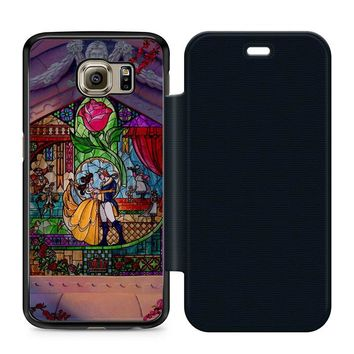 Beauty and The Beast Art Leather Wallet Flip Case Samsung Galaxy S6