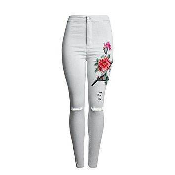 Sherhure 2017 High Waist Jeans Woman American Apparel Rose Embroidery Ripped Jeans For Women Skinny Jeans Thin Pants Femme
