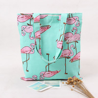 Flamingo Canvas Tote in Aqua and Pink