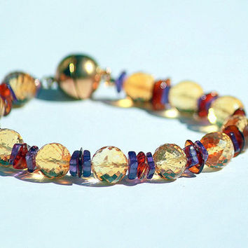 Round Citrine Beads with Amber Bracelet