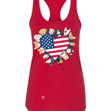 Dogs Heart USA Flag Tshirt or Tank  - 4th July Dog Party! American Dogs , Puppys of The USA