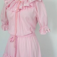 Pink Dress / 70s party dress /  peasant dress by roguegirlvintage