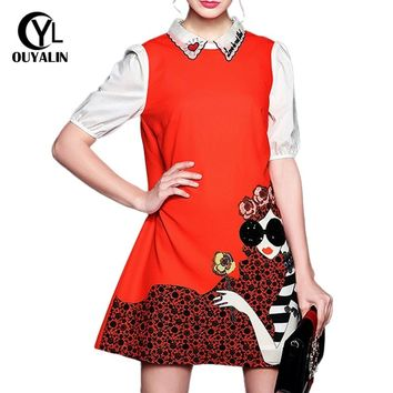 S-5XL Letter Heart Embroidery Printed Red Dress Sequined Modern Lady 2017 Big Size Lantern Sleeve Loose Casual Sundress 5073