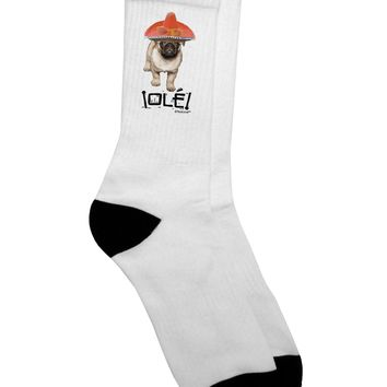 Pug Dog with Pink Sombrero - Ole Adult Crew Socks  by TooLoud