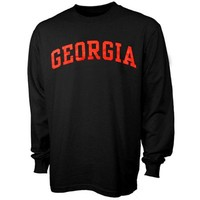 Georgia Bulldogs Black Vertical Arch Long Sleeve T-shirt
