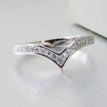 Solid 14K White Gold V Shape Continuous Women Diamond Anniversary Ring Fine White Gold Jewelry Stunning Birthday Gift
