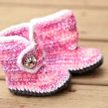 Crochet Baby Booties - Baby Boots - Pink Purple White Baby Shoes Grey Bling - Bling Baby Booties - UGG Inspired