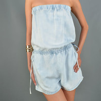 This super soft acid washed denim romper features a self tie cinched waist at both side, strapless with elasticized band easy on/off, two side pockets. Unlined.