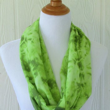 Infinity Scarf, Bright Green Scarf, Women's Chiffon Scarf,  Circle Scarf, Loop Scarf, Women's Scarves, Eclectasie
