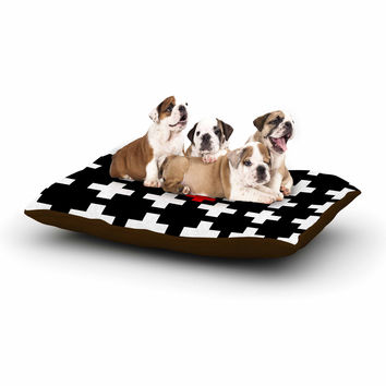 """Suzanne Carter """"Swiss Cross"""" Black White Dog Bed"""