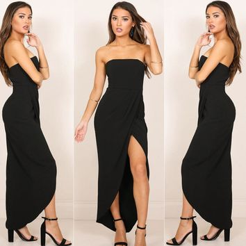 Summer Sexy Women Sleeveless Solid Color High Side Slit Strapless Bodycon Elegant Ladies Long Maxi Dress Party Dresses