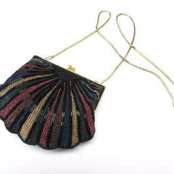 Lucious Beaded Clamshell Clutch Pink Blue Yellow Black Evening Purse