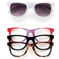 SO Floral Snap-Front Square Sunglasses - Women (White)