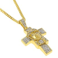 Hip hop Mens 18K Gold Plated Titanium Steel Jesus Head Cross Pendant with Rhinestone Cuban Necklace Christ Jewelry For Present (Gold)