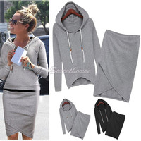 Free Shipping Cotton Sport Suit Casual Sport Set Tracksuits 2pcs/set(Hoodies+Irregular Skirt) Women Clothing Set 31