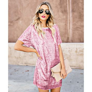 New women's short skirt sequin stitching short-sleeved dress(Only one piece)