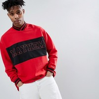 ASOS DESIGN Oversized V Neck Sweatshirt With Text Print In Red at asos.com