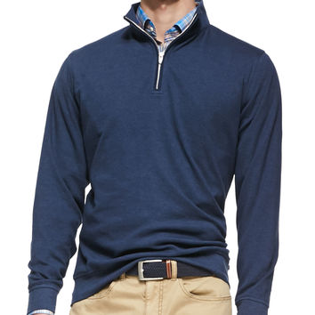 1/2-Zip Jersey Pullover Sweater, Navy, Size: