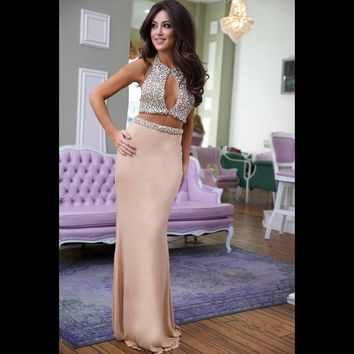 Sexy Halter Two Pieces Mermaid Prom Dresses 2016 Luxury Rhinestone Sequined Summer Party Dresses  Vestido De Festa