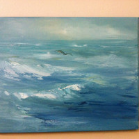 Seagull over the Ocean- 11 x 14 Original Oil Painting- Water- Blue and White- Waves- Bird-Atmospheric