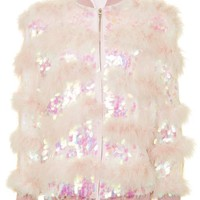 Sequin Marabou Bomber Jacket - Jackets & Coats - Clothing