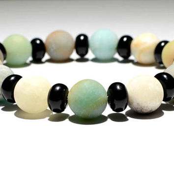 Amazonite and Black Onyx Beaded Gemstone Bracelet or Anklet - BBR5972