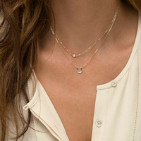 Shiny New Arrival Jewelry Gift Stylish Accessory Simple Alphabet Double-layered Necklace [7298068423]