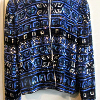 Glitzy vintage 80'S Papell Boutiqe Evening blue/black silver sequined jacket   Sz 12