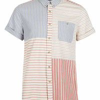 Red Blue Mixed Stripe Short Sleeve Shirt - Men's Shirts - Clothing