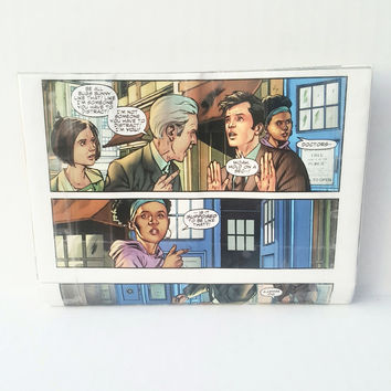 Small Clutch Handbag, Upcycled Doctor Who Tardis Comic Book Purse, Cool Women's Wallet, Geek Gift