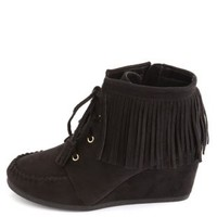 Lace-Up Fringe Moccasin Wedge Booties by Charlotte Russe - Black