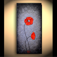 Original  Modern Art, Abstract, Red Poppies, Artwork, Contemporary, Mixed Media, Landscape, Silver Texture Painting 10x20 great gift for mom