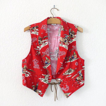 Vintage 80s 90s Bright Red Cowboy Print Women's Vest - Menswear Inspired Bandana Print Western Wear Vest - Size Medium