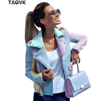 Trendy TAOVK Women Basic Coat Zipper design Jacket Multicolor Cut Autumn Outwear Turn-down Collar Female Hit Color Patched Jackets AT_94_13