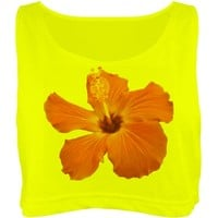Tropical Neon Flower: Custom Misses American Apparel Neon Oversized Crop Top Tank Top - Customized Girl