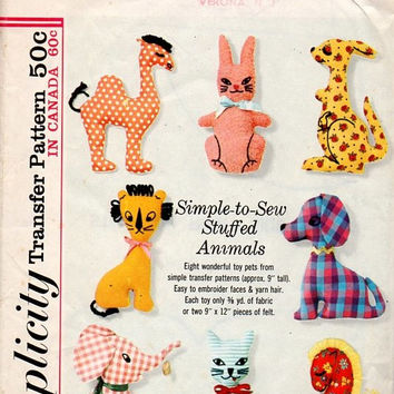 Simplicity 60s Sewing Pattern 5767 Simple To Sew Stuffed Animals Camel Elephant Cat Horse Kangaroo Rabbit Dog Baby Toy Retro Uncut
