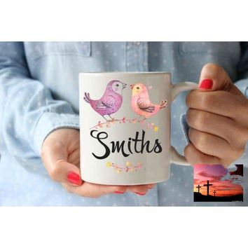 Coffee Mug   Family Name Birds Personalized Cup  