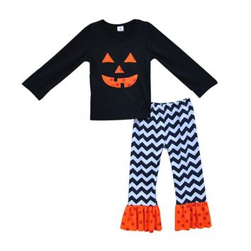 Promotion Girl Clothes Set Kids Fashion Costume For Halloween Pumpkin Deco Chevron Ruffle Pants Baby Cotton Outfits H012