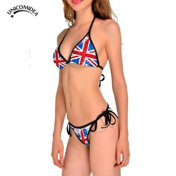 New Style UK Flag Print Bikinis Women Swimsuit Padded Bathing Suits Halter Bra Set Sexy Low Waist Beach Swimming Suits Biquini