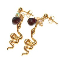 Chinese New Year Earrings Year of the Snake Gold Vermeil Garnet Ethiopian Opal Handcrafted Gemstone Jewelry