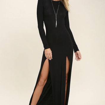 Rustling Leaves Black Long Sleeve Maxi Dress